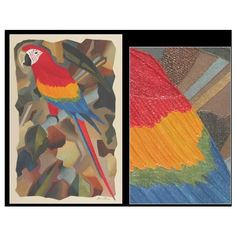 NOVICA Red Macaw Brazilian Original Cubist Painting ($270) ❤ liked on Polyvore featuring home, home decor, wall art, art gallery, flower & fauna paintings, paintings, view by subject, red flower wall art, cubist paintings and red palm tree