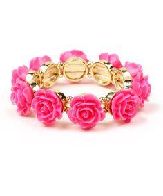Look at this #zulilyfind! Fuchsia & Goldtone Rose Stretch Bracelet #zulilyfinds