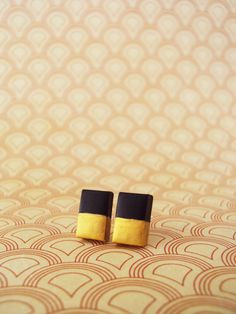 Food Jewelry. Gold Dipped Geometric Earrings Black // by MyMiniMunchies on Etsy, polymer clay jewelry. Polymer clay charms.