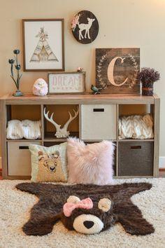 Woodland Nursery decor Girl baby bear rug by ClaraLoo