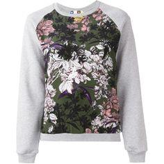 MSGM Floral Panel Sweatshirt ($179) ❤ liked on Polyvore featuring tops, hoodies, sweatshirts, sweaters, grey, msgm sweatshirt, grey sweatshirt, gray sweatshirt, floral print sweatshirt and flower print top