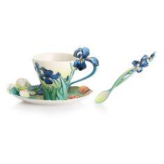 Van Gogh Iris Flower Cup, Saucer & Spoon Set