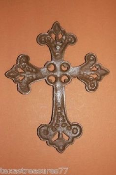 CROSS, CAST IRON, FLEUR DE LIS, FRENCH LILY, SAINTS, CHRISTIAN, #7