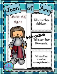 Have your children research Joan of Arc.   Great for Women's History Month!This product includes two ways for your children to share what they have learned about Joan of Arc in writing.Joan of Arc Interactive Writing Printable (color and black and white)Joan of Arc Fast Facts (color and black and white)