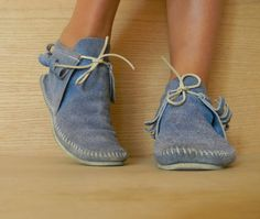 Vintage Suede Moccasin Booties with fringe - Blue Suede Shoes - Ankle Boots- moccasins