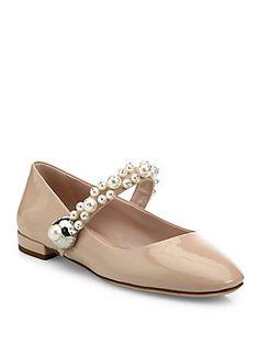 Miu Miu Pearl Bead Trim Patent Leather Mary Jane Flats