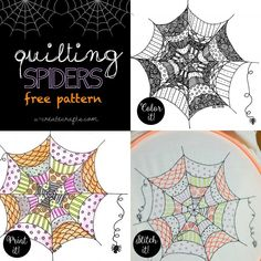 """Quilting Spiders"" free pattern by MichaelsMaker U Create - Color It, Print It, or Stitch It!"