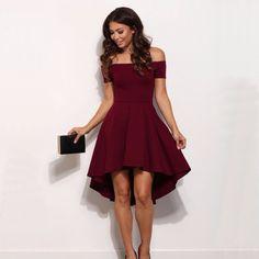 d7bd6ecd84 Vintage 2018 Women Sexy Slash neck Solid color Party dress Autumn New  Fashion A-Line black Red wine Knee-Length dresses Price  13.73  tshirt