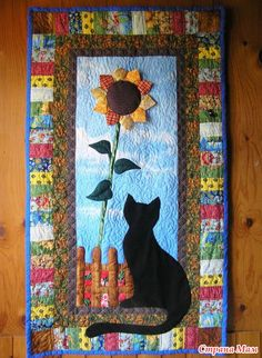 "Patchwork panels ""with Cat Sunflower"" - patchwork - Home Moms"