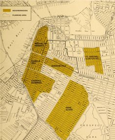 Map of Brooklyn neighborhoods in the 1970s, New York City
