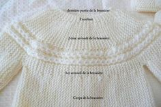 """Brassière détail torsade ~~ """"Princess Charlotte"""" look ~~ Full instruction in French (free written pattern) Crochet Baby Dress Pattern, Baby Knitting Patterns, Knitting Stitches, Filet Crochet, Knit Crochet, Tricot Baby, Baby Pullover, Knitting For Kids, Baby Sweaters"""