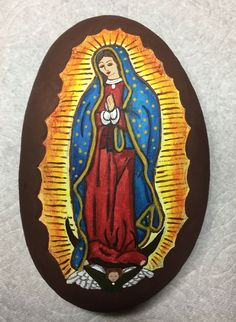 Our Lady of Guadalupe painted rock -by Kerry