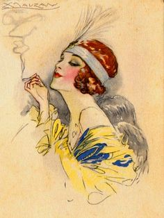 Art Deco Darling - Mauzan postcard..