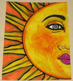 Original Pen and Ink Drawing Yellow Sun Face Design Sun Moon Stars, Sun And Stars, Yellow Sun, Mellow Yellow, Sun Painting, Cavas Painting, Sun Doodles, Canvas Mobile, Good Day Sunshine