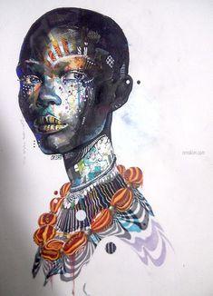 "UN ART AFRICAIN ... ""LA FEMME-ZÈBRE"" ! JOLIE CRÉATION! Art par Minjae Lee.. #contemporaryartist"
