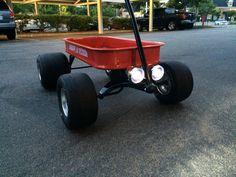 Mini L.E.D. Motorcycle headlamps on my custom radio flyer wagon