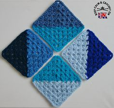 Crochet Granny Squares Design Half and Half Granny Square - free crochet pattern by Heather C Gibbs. Part 7 of the KCACO-UK Groovyghan CAL - Granny Square Crochet Pattern, Crochet Squares, Crochet Blanket Patterns, Crochet Granny, Knitting Patterns, Crochet Quilt, Crochet Blocks, Crochet Motif, Crochet Stitches