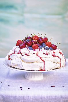Serve a delicious summer dessert with our fruit and rose meringue topped with cherries, blueberries and strawberries. Serve with edible rose petals for a pretty touch.