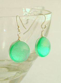 Emerald Green Dichroic Fused Glass Earrings With by glassismyname, #cgge