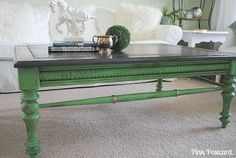 The James coffee table- Annie Sloan Antibes Green on base and Graphite on top. Antique Gold Rub n Buff detail.