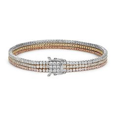 Triple Row Diamond Tennis Bracelet in 18k White, Yellow and Rose Gold (4.75 ct. tw.)