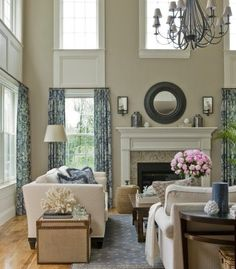 window casing idea for working with tall ceilings & double windows.  from www.ourfifthhouse.com