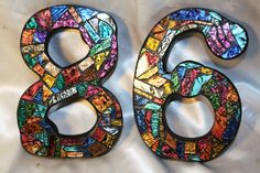 """8"""" Tall - CUSTOM Made Mosaic House Numbers - This is the Multi-Colored Van Gogh Glass Sample - Order Your 8"""" Size Numbers From This Listing"""