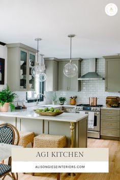 Alison Giese Interiors is a boutique interior design firm known for creating classic and worldly interiors. Alison Giese Interiors serves Northern Virginia and Washington DC, focusing on unique interiors for each home. Green Kitchen, New Kitchen, Kitchen Dining, U Shape Kitchen, Kitchen Layout U Shaped, Ikea U Shaped Kitchen, Kitchen Layout Design, U Shaped Kitchen With Breakfast Bar, Kitchen Redo