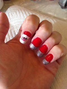 Christmas mani! #nailart #glitter #santa #red #easynailart #mani #manicure