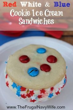 Red White and Blue Cookie Ice Cream Sandwiches Recipe - Great for July 4h, Memorial Day and labor day Cook outs and BBQ!