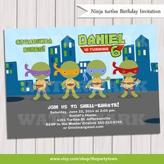 Ninja turtles birthday invitation Teenage Turtle by ThePartyTown, $10.00