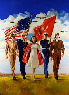"""Keep 'Em Flying   Artist: Bettina Steinke   Date: 1942   Medium: Oil on Illustration Board   Dimensions: Sight size 24"""" x 32"""" Framed 29"""" x 37""""   Condition: Good   Original Use: Patriotic WWII Art for Government Poster    Price: $3850.00"""