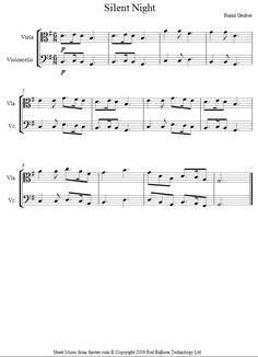 viola-cello duet silent night sheet music - 8notes.com
