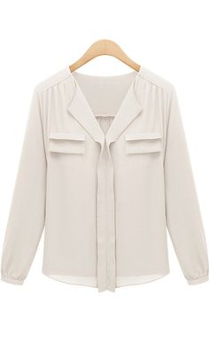 V-neck long sleeve OL blouse A316 Beige