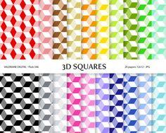 20+Digital+scrapbook+printable+papers+3D+by+ValerianeDigital,+$2.50