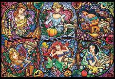 Disney princess stained glass. Belle, Cinderella, Jasmine, Aurora, Ariel, and Snow White.