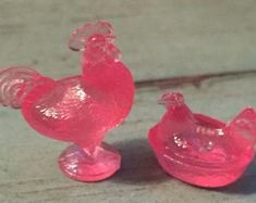 Miniature Pink Rooster and Hen Candy Dish Set, Dollhouse  Miniatures, 1:12 Scale, Dollhouse Accessory, Decor, Pink Rooster, Hen