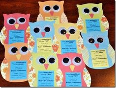 Easy to make owl baby shower invitations.