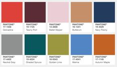 Pantone color swatches from the Pantone Fall 2017 Color Report