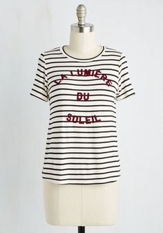 Daytime Testimonial Top - Jersey, Knit, Mid-length, White, Black, Stripes, Print, Lounge, French / Victorian, Sayings, Short Sleeves, Better, Crew, Colorsplash, SF Fit Shop