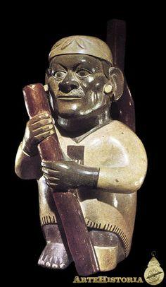Cántaro que representa a un cojo con bastón. Cultura Mochica (Perú)