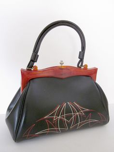 Vintage Bakelite handle, retro, rockabilly 50s ( fifties ) purse with pin-striping.  http://greaseandgrace.com/