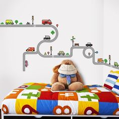 Decowall, DW-1204, 10 Transports and Roads Wall Stickers Nursery DIY Kid Decals  #Decowall #ModernEducationalGoodforChildren