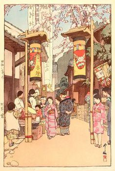 Country Holiday - A Country Festival at Kono, Hiroshi Yoshida, 1933 Japanese Art, Japanese Artists, Painting, Japanese Woodblock Printing, Hiroshi Yoshida, Illustration Art, Art, Ukiyoe, Prints