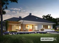 Eris II (wersja C) - projekt domu - Archipelag Bungalow Haus Design, Modern Bungalow House, Bungalow House Plans, Tiny House Design, Modern House Design, Style At Home, 4 Bedroom House Designs, Small Country Homes, Tower House
