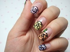 click through for tutorial (in my korean blog)  rose french nailart