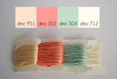 The wintry coolness of soft mint and creams are thawed out with the addition of a deep salmon in this frosty color palette. This is the first sneak peek color palette for our spring launch coming A… Dmc Embroidery Floss, Cross Stitch Embroidery, Embroidery Patterns, Hand Embroidery, Diy Bracelets Patterns, Thread Bracelets, String Bracelets, Cross Stitch Floss, Cross Stitch Patterns