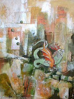 Artwork >> Sylvie Boulet >> large rooster green