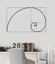 Vinyl Wall Decal Golden Ratio Geometry Math School Mural Stickers (ig3637)