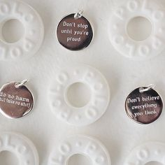 Our 3 company mottos ok 4 when you include the delicate but mighty size of the pendants beautifully modelled by a handful of polo mints. 3 Company, Mental Health Awareness Day, David And Goliath, Treat Yoself, Believe In You, Mottos, Delicate, Girly